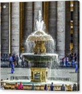 St. Peter's Square Fountain At The Vatican Acrylic Print