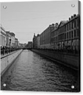 St Petersburg Waterway - Black And White Acrylic Print