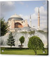 St Sophia Mosque And Fountain In Park Acrylic Print