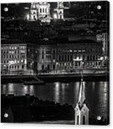 St Stephens Basilica Night Bw Acrylic Print