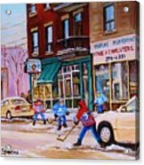 St. Viateur Bagel With Boys Playing Hockey Acrylic Print by Carole Spandau
