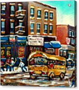 St. Viateur Bagel With Hockey Bus  Acrylic Print