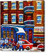 St Viateur Bagel With Hockey Montreal Winter Street Scene Acrylic Print