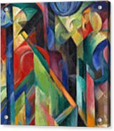 Stables By Franz Marc Bright Painting Of Horses In A Stable Acrylic Print