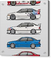 Stack Of Bmw 3 Series E36 Coupes Acrylic Print