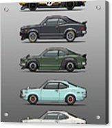 Stack Of Mazda Savanna Gt Rx-3 Coupes Acrylic Print
