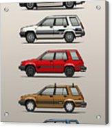 Stack Of Toyota Tercel Sr5 4wd Al25 Wagons Acrylic Print