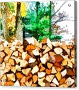 Stacked Fire Wood In Preparation For Winter 1 Acrylic Print