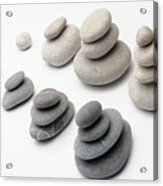 Stacks Of White And Gray Pebbles Acrylic Print