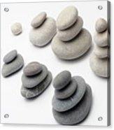Stacks Of White And Gray Pebbles Acrylic Print by Sami Sarkis