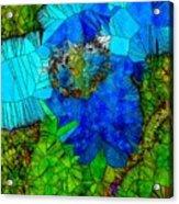 Stained Glass Blue Poppy One Acrylic Print