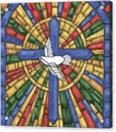 Stained Glass Cross Acrylic Print