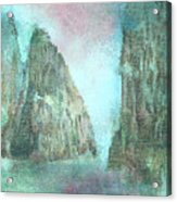 Stained Glass Mountain Temple Acrylic Print