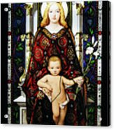 Stained Glass Of Virgin Mary Acrylic Print by Adam Romanowicz