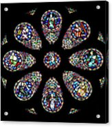 Stained Glass Rose Window In Lisbon Cathedral Acrylic Print