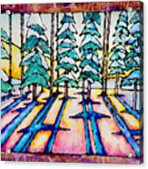 Stained Glass Watercolor Winter Pine Trees Acrylic Print