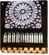 Stained Glass Window Of Notre Dame De Paris. France Acrylic Print
