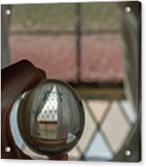 Stained Glass Window With Curtains In Crystal Ball Acrylic Print