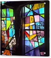 Stained Glass With Crucifix Silhouette Acrylic Print
