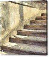 Staircase At Pitti Palace Florence Pencil Acrylic Print
