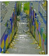Stairs With Painted Rocks Acrylic Print