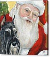 Standard Schnauzer And Santa Acrylic Print