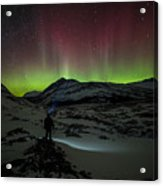 Standing In Awe Of The Auroras Acrylic Print