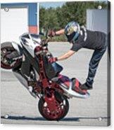 Standing On One Leg Riding Wheelie Acrylic Print