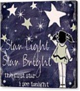 Star Light Star Bright Chalk Board Nursery Rhyme Acrylic Print