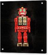 Star Strider Robot Red On Black Acrylic Print