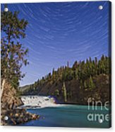 Star Trails And Moonbow Over Bow Falls Acrylic Print