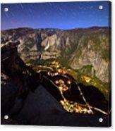 Star Trails At Yosemite Valley Acrylic Print