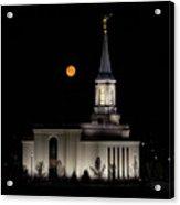Star Valley Wyoming Temple -  Grain Harvest Moon Acrylic Print
