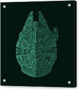 Star Wars Art - Millennium Falcon - Blue Green Acrylic Print
