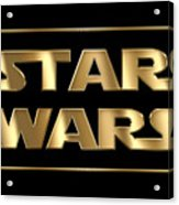 Star Wars Golden Typography On Black Acrylic Print