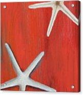 Starfish On Red Acrylic Print