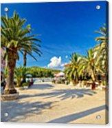 Stari Grad On Hvar Island Palm Waterfront Acrylic Print