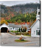 Stark Covered Bridge And Village Acrylic Print