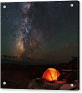 Starlight Camping On The Canyon Edge Acrylic Print