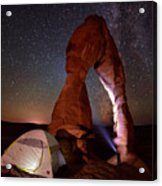 Starlight Tent Camping At Delicate Arch Acrylic Print