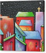 Starry Night In The Little City 2 Acrylic Print