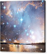 Starry Night Over A Mountain Lake Fantasy Acrylic Print