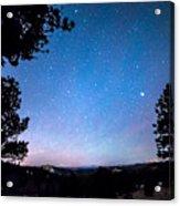 Starry Rocky Mountain Forest Night Acrylic Print