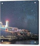 Starry Sky Of The Nubble Light In York Me Cape Neddick Acrylic Print