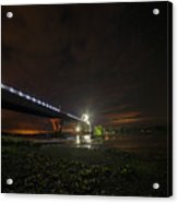 Starry Sky Over The New York To Vermont Bridge Lake Champlain Acrylic Print