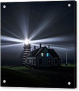 Stars And Light Beams - West Quoddy Head Lighthouse Acrylic Print
