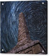Startrails Over Kanza Monument In Kansas Acrylic Print