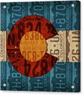 State Flag Of Colorado Recycled License Plate Art Acrylic Print