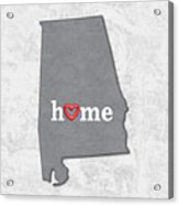 State Map Outline Alabama With Heart In Home Acrylic Print
