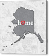 State Map Outline Alaska With Heart In Home Acrylic Print
